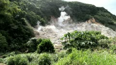 St Lucia Sulpher Springs with steam Stock Footage