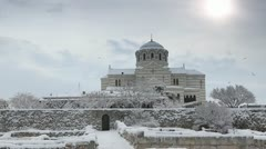 Cathedral in winter, St. Vladimir's Cathedral, Chersonese, Sevastopol, Ukraine Stock Footage