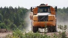 Big Volvo dump truck in a mine - stock footage