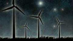 Wind turbine at night Stock Footage