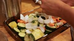 Preparing Roasted Vegetables Stock Footage