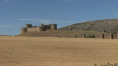 Spain castle and wheat field Stock Footage