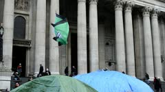 Anti Capitalist Flag at St. Pauls Cathedral, London Stock Footage