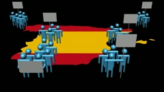 Increasing crowd demonstrating on Spain map flag animation Stock Footage