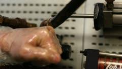 Hydraulic valve and piston Stock Footage