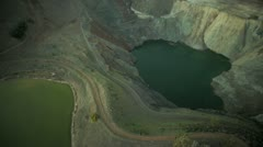 Aerial vertical view of a large salt  quarry  USA Stock Footage