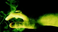 Mystical Hand with Green Smoke Stock Footage