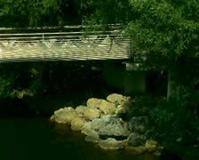 Modern architecture on the river Mura, Graz Stock Footage