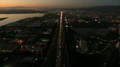 Aerial sunset view of vehicle congestion, USA Stock Footage