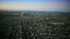Aerial sunset view of freeway vehicles, San Francisco, USA Stock Footage