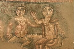 Armenia mosaic of two figures at Garni Stock Footage
