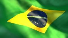 Flag of Brazil waving on sun - seamless loop Stock Footage