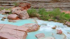 Stream flowing in beautiful canyon in the grand canyon national park Stock Footage