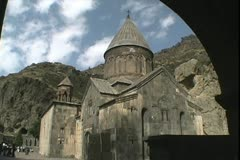 Armenia Geghard Monastery through arch Stock Footage