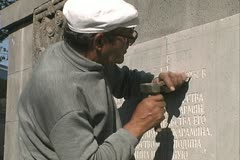 Armenia man carving stone Stock Footage
