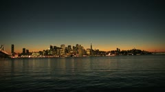 Aerial sunset of Fishermans Wharf, San Francisco, USA - stock footage