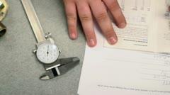 Engineering homework micrometer Stock Footage
