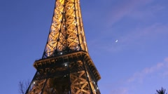 Eiffel tower at night in Paris Stock Footage