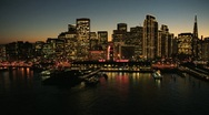 Stock Video Footage of Aerial sunset of Fishermans Wharf, San Francisco, USA