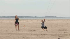 Kiting on Beach Stock Footage