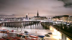 Night view of Stockholm - stock footage