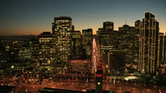 Aerial sunset low angled street view San Francisco, USA - stock footage