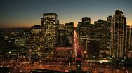 Aerial sunset low angled street view San Francisco, USA Stock Footage