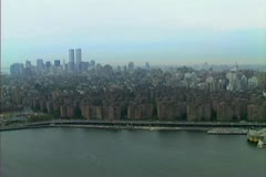 Aerial of Manhattan Upper East side with the Twin Towers on the horizon Stock Footage