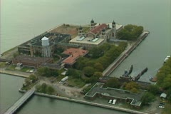 Aerial shot of Ellis Island Stock Footage