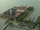 Stock Video Footage of Aerial shot of Ellis Island