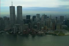 Aerial shot of the south west end of Manhattan including the twin towers Stock Footage