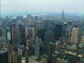 Stock Video Footage of Aerial shot of midtown Manhattan going over Central Park