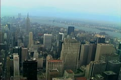 Aerial shot of midtown Manhattan including the GE building and St Patricks Stock Footage