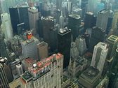 Stock Video Footage of Aerial shot of midtown Manhattan including the GE building