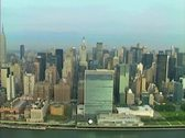 Stock Video Footage of Aerial shot of the United Nations Building on the East River