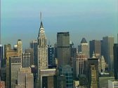Stock Video Footage of Aerial shot of Midtown Manhattan centered on The Chrysler Building