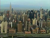 Stock Video Footage of Aerial shot of Midtown Manhattan from the East River
