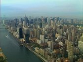Stock Video Footage of Aerial shot of Roosevelt Island, the East River and Manhattan Skyline