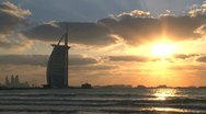 Burj al Arab hotel sunset time lapse Stock Footage