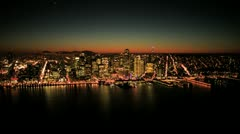 Aerial sunset view of Fishermans Wharf and San Francisco,USA Stock Footage