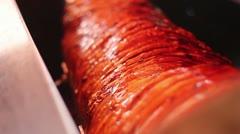 Hog Spit Roast turning Stock Footage