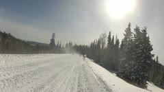Snowmobile follow ice crystals in air P HD 0053 Stock Footage