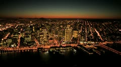 Aerial sunset view of Fishermans Wharf and San Francisco, USA Stock Footage