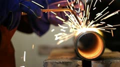 cutting through pipe torch 1 - stock footage