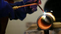 Cutting Pipe torch 2 Stock Footage