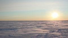 Sea Ice Pan Right to Sun, Bering Sea, Alaska Stock Footage
