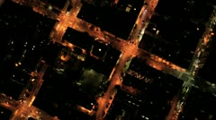 Aerial night vertical view of rolling roads city traffic, USA - stock footage
