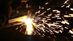 Cutting metal with torch Stock Footage