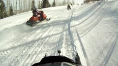 Snowmobile trail club ride winter mountain P HD 0026 - stock footage