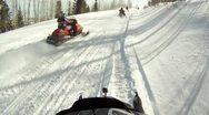 Snowmobile trail club ride winter mountain P HD 0026 Stock Footage